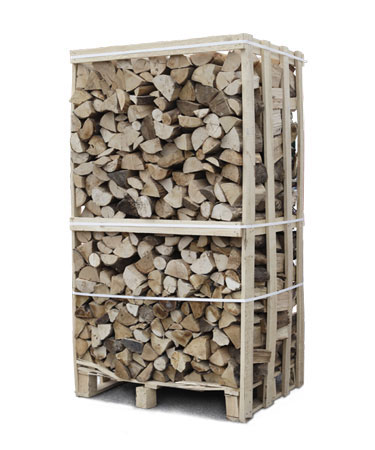 Hardwood logs in cage